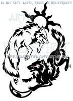 Tribal Hati + Skoll Yin Yang Design by WildSpiritWolf