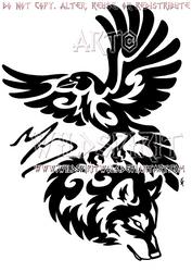 Tribal Raven And Wolf Memorial Design by WildSpiritWolf