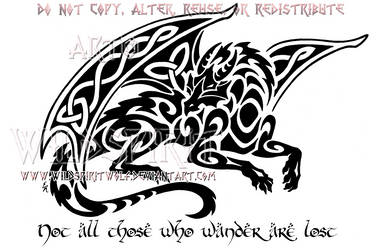 Smaug Celtic Tribal Dragon Design by WildSpiritWolf