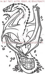 Climbing Smaug Dragon Lineart Commission by WildSpiritWolf