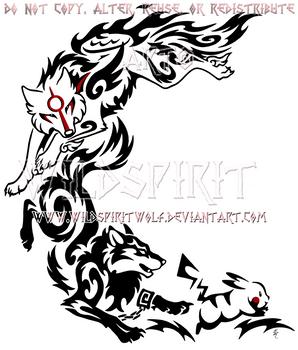 Wolf Link, Amaterasu, + Pikachu Crescent Design by WildSpiritWolf