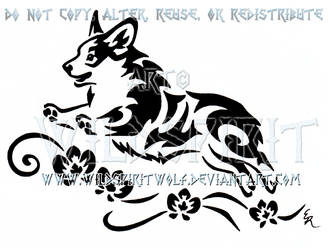 Frolicking Corgi And Orchids Tribal Design by WildSpiritWolf