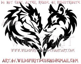 Tribal Dragon And Wolf Heart Design by WildSpiritWolf