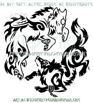 Amaterasu And Link Playful Frolic Tribal Design by WildSpiritWolf