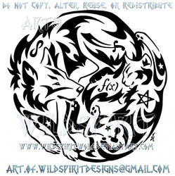 Wolf And Cat + Symbols Yin Yang Tribal Design by WildSpiritWolf