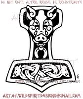 Wild Boar Thor's Hammer Design by WildSpiritWolf