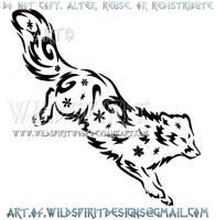 Arctic Fox Snowflake Tribal Design by WildSpiritWolf