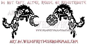 Knotwork Hati + Skoll - Ragnarok Design by WildSpiritWolf