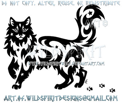 Starry Tribal Long-Haired Cat + Paw Prints by WildSpiritWolf