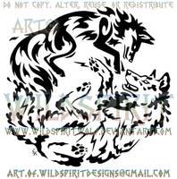 Circling Elemental Fox And Wolf Tribal Design by WildSpiritWolf