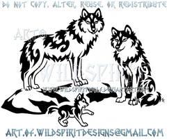Proud Wolf Family Tribal Design by WildSpiritWolf
