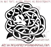Rose Fox Knotwork Design by WildSpiritWolf