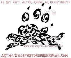 German Shepherd And Labrador + Paw Print Design by WildSpiritWolf