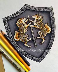 Celtic Wolves Of Light - Heraldic Shield Design by WildSpiritWolf
