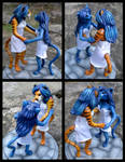 Anthro Tiger And Cat - Wedding Topper Sculpture by WildSpiritWolf