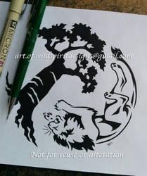 Lion + Baobab Tree - Tribal Yin Yang Design by WildSpiritWolf