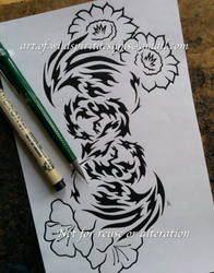 Infinity Phoenixes + Flowers - Tribal Design by WildSpiritWolf