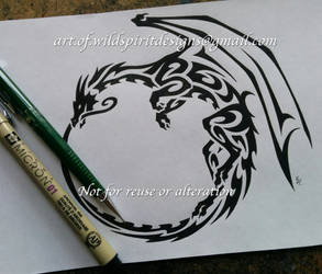 Winged Ouroboros Dragon - Tribal Design by WildSpiritWolf