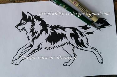 Running Alpha Wolf - Tribal Design by WildSpiritWolf