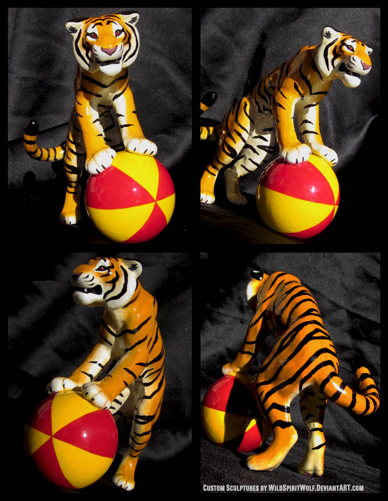 Tiger On Red + Yellow Ball - Sculpture Commission by WildSpiritWolf