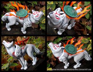 Okami Amaterasu - Wolf Sculpture Commission by WildSpiritWolf