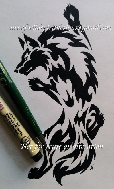 Climbing Wolf Tribal Design + M and S Letters by WildSpiritWolf