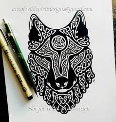 Celtic Wolf's Head - Knotwork Design by WildSpiritWolf