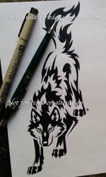 Downward Stalking Wolf - Tribal Design by WildSpiritWolf