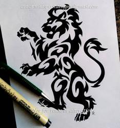Regal Rampant Lion - Tribal Design by WildSpiritWolf