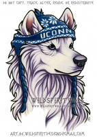 White UConn Husky Mascot - Color Design by WildSpiritWolf