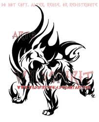 Flame Wolf Tribal Design by WildSpiritWolf