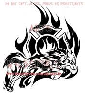 Through The Flames - Wolf Tribal Design by WildSpiritWolf