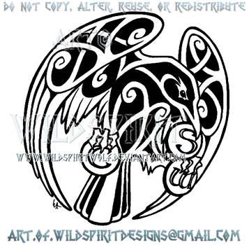 Raven + Medallions Celtic Knotwork Design by WildSpiritWolf