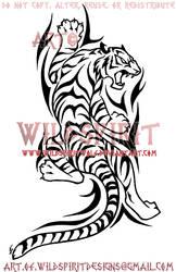 Climbing Tribal Tiger Design by WildSpiritWolf