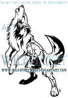 Howling Emotion Wolf Tribal Design by WildSpiritWolf