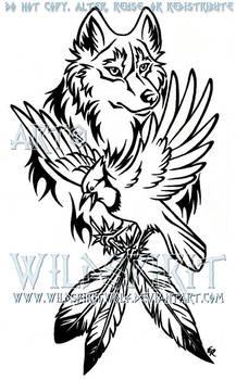 Wolf And Blue Jay Tattoo by WildSpiritWolf