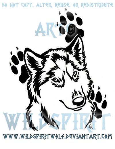 Husky Pawprint Tribal Design by WildSpiritWolf