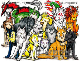 Anime Wolf Group Commission by WildSpiritWolf