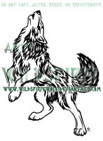 Standing Howling Wolf- Nordic Flame Tribal Design by WildSpiritWolf