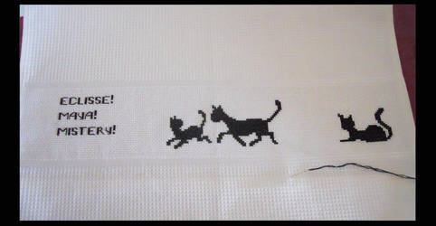 Cross-stitched Dishcloth with Black Cats by JulietTaylor