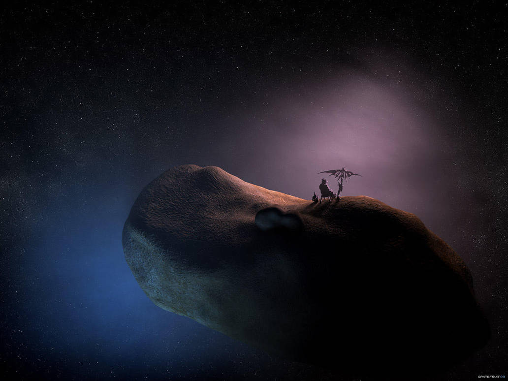 peanut on asteroid by Cratefruit