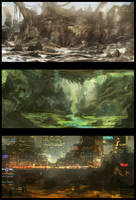 Environment Sketches 1 by Narandel