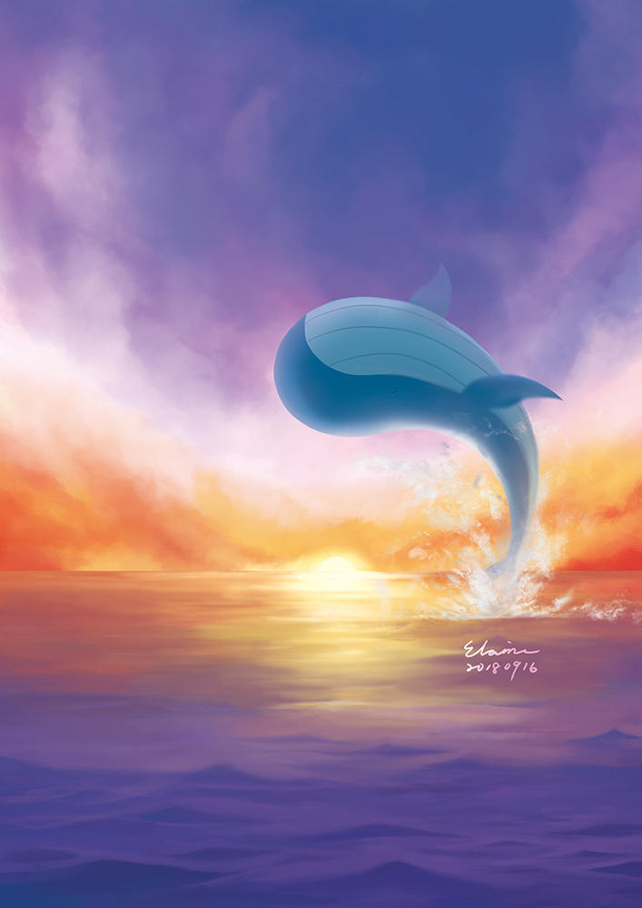 Whale in the Sunset by elainechen