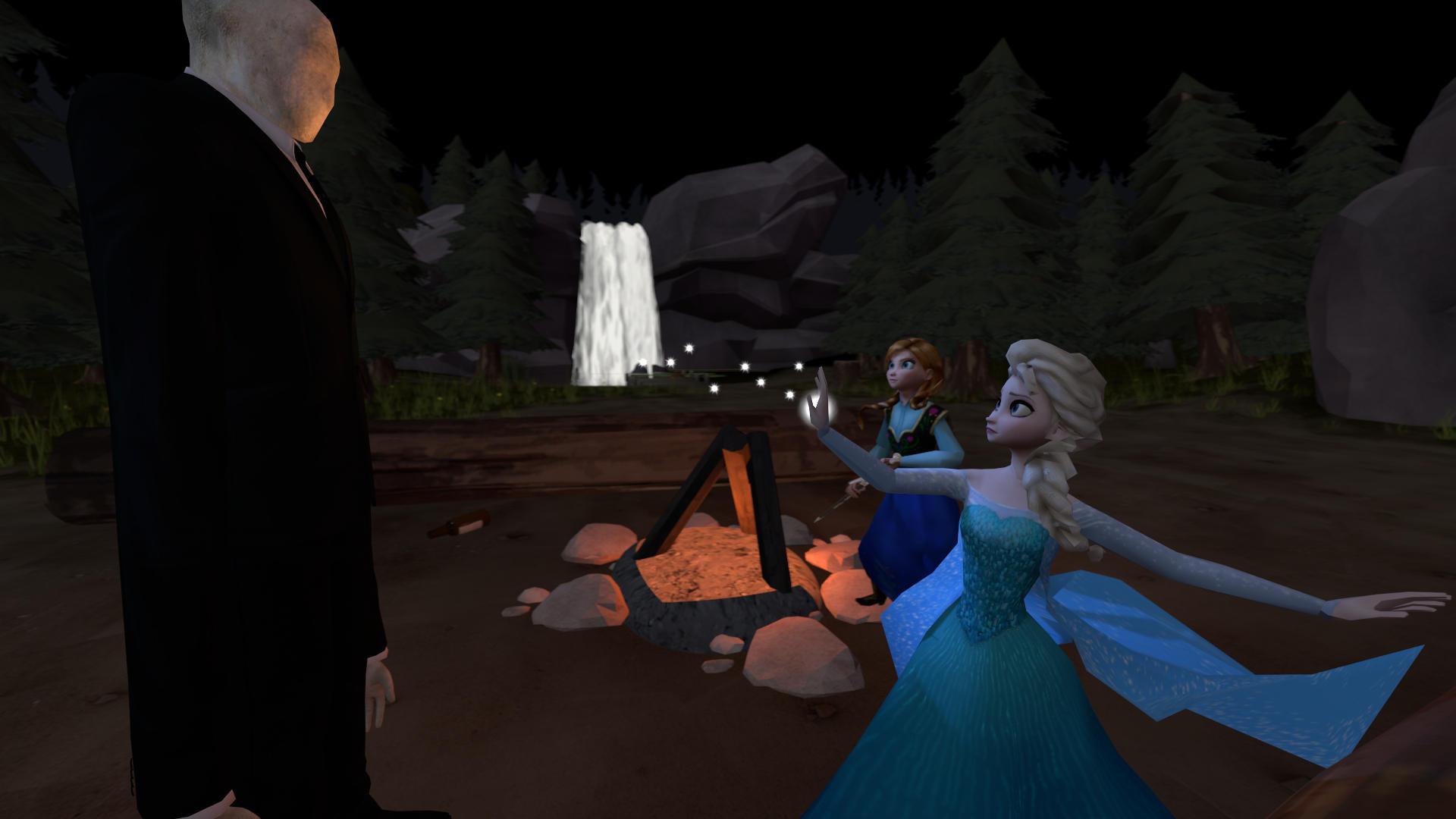 Elsa and Anna Against Slenderman by Lilyflower341