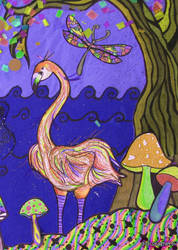 Flamingo and dragonfly by didi-spaghetti