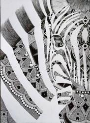 zebra close-up doodle art by veranna26