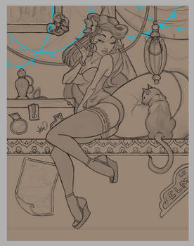 Digital - Pinup la chat - Sketch and linework by EternityEmporium
