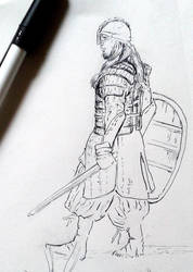 Russ' Warrior : INKtober 2014 by DymondStarr