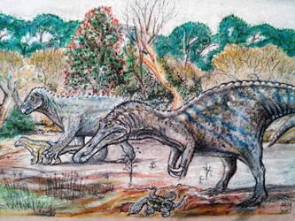 Iguanodon and Baryonyx. by PedroSalas