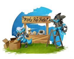 [Commission] - Riolu Pup Retail by LazyAmphy